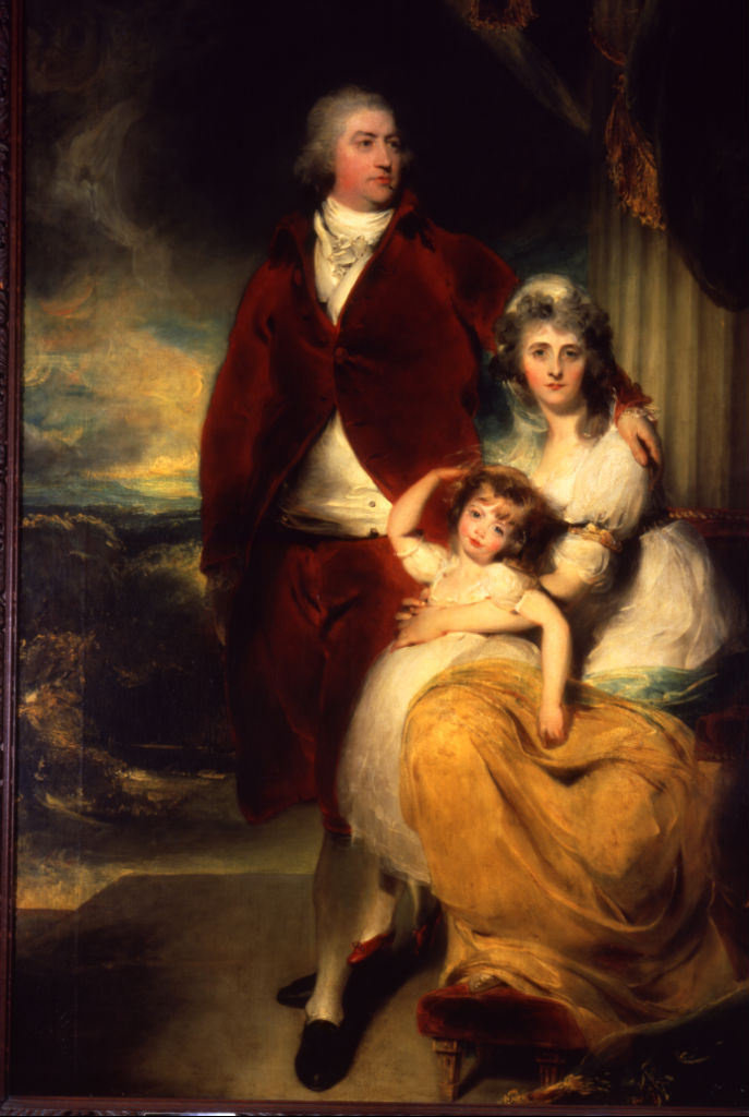 Portrait of Henry, 10th Earl and 1st Marquess of Exeter (1754-1804), with his wife, Sarah and their daughter Lady Sophia Cecil, Sir Thomas Lawrence, P.R.A. (1769-1830).