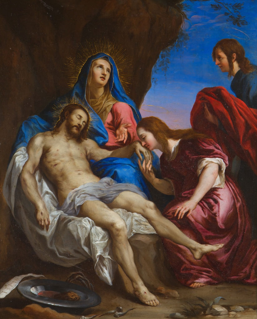 The Pieta with St. Mary Magdalene and St. John the Evangelist, Attributed to Giovanni Remigio (1607-1675), after Van Dyck (1599-1641).