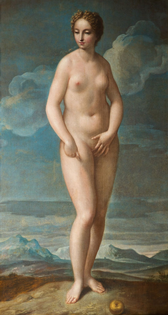 A Full- length Figure of Eve in a Landscape, Attributed to Pietro Liberi (1605-1687), after Titian (died 1576).