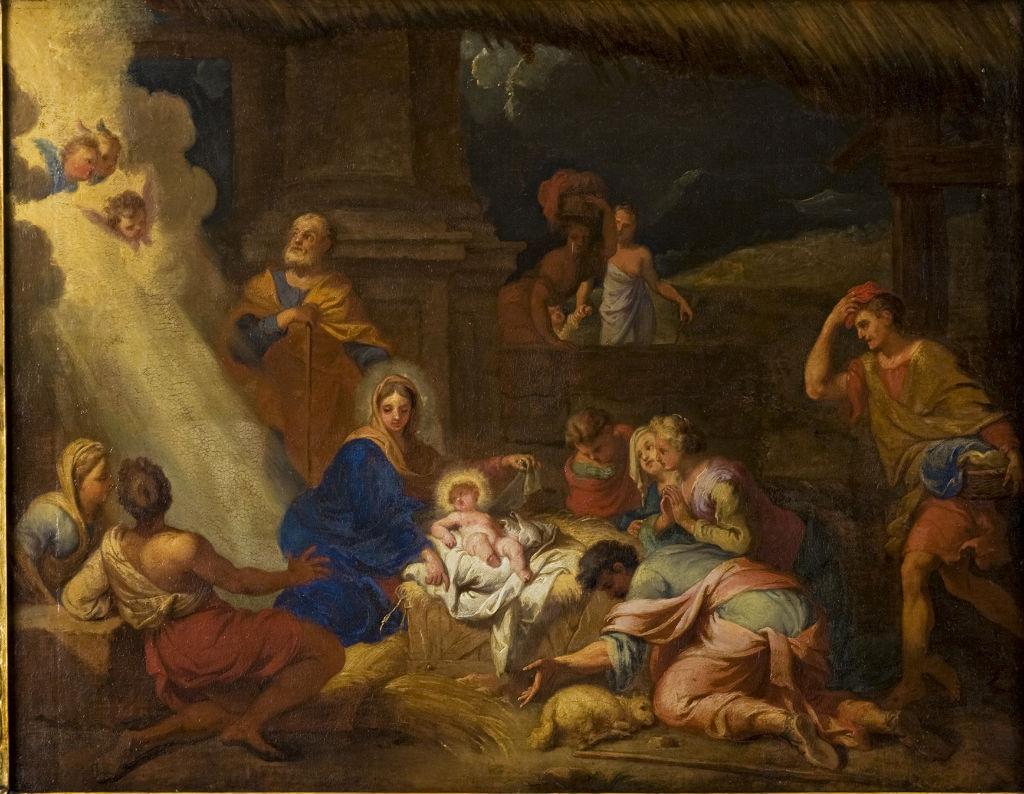 The Adoration of the Shepherds, Pieter Mulier, called Cavaliere Tempesta (1637-1701).