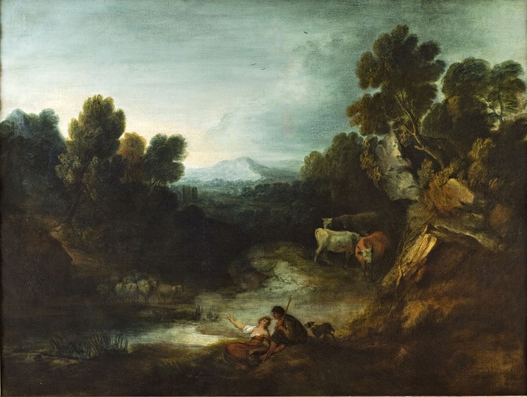 Pastoral Landscape with Rustics, Cattle and Sheep by a Pool, Studio of Thomas Gainsborough, R.A. (1727-1788).
