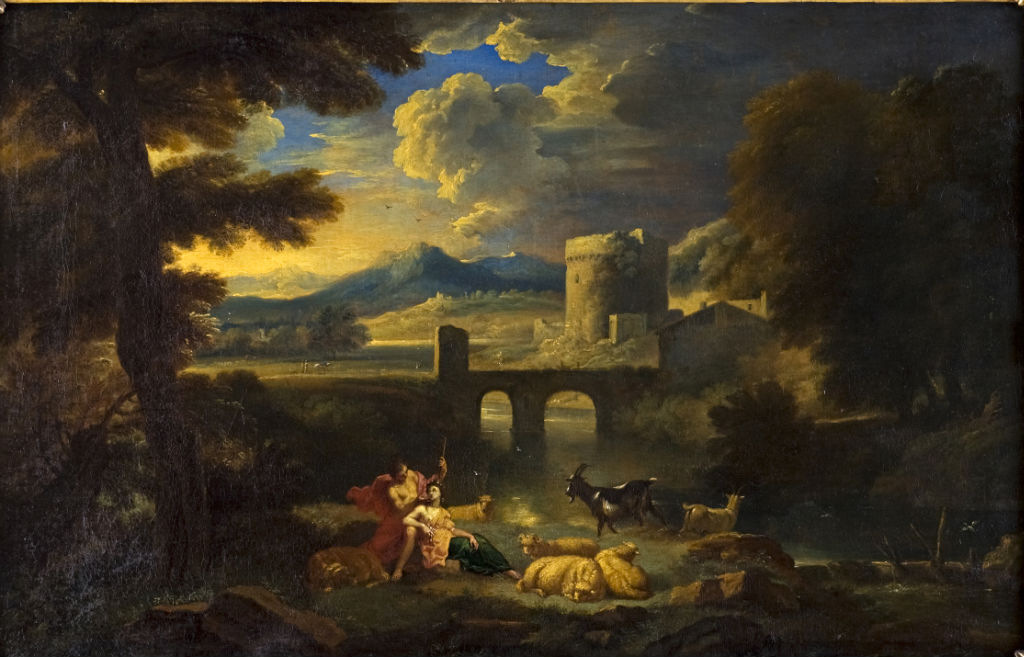 A Shepherd and Shepherdess in a Landscape, Pieter Mulier called Cavaliere Tempesta (1637-1701).
