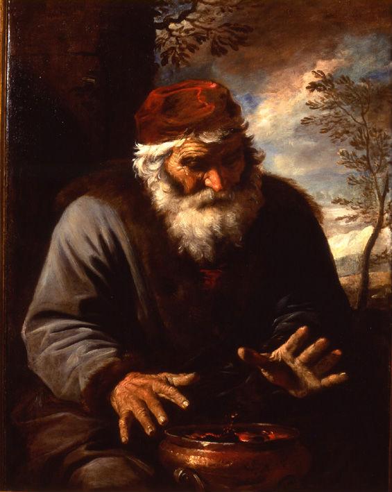 An Old Man by a Brazier, Pier Francesco Mola (1612-1666).