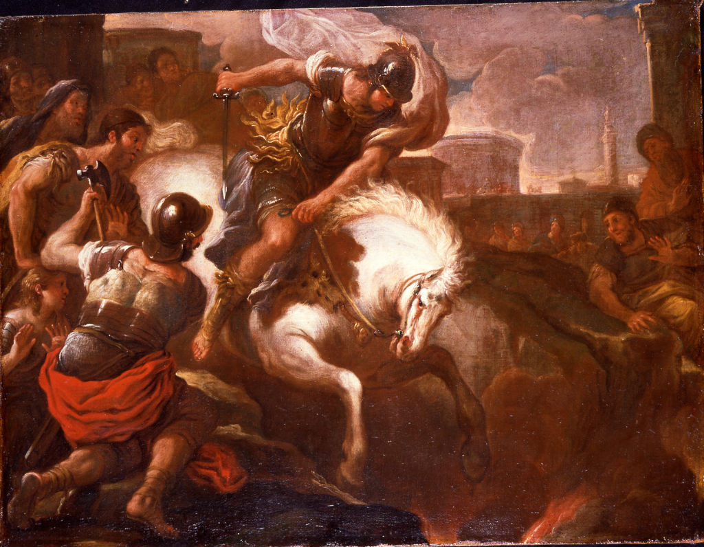 Marcus Curtius Leaping into the Chasm, Luca Giordano (1634-1705).