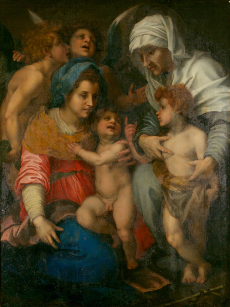 The Virgin and Child with the Infant Baptist and St. Elizabeth,  After Andrea del Sarto (1486-1530).