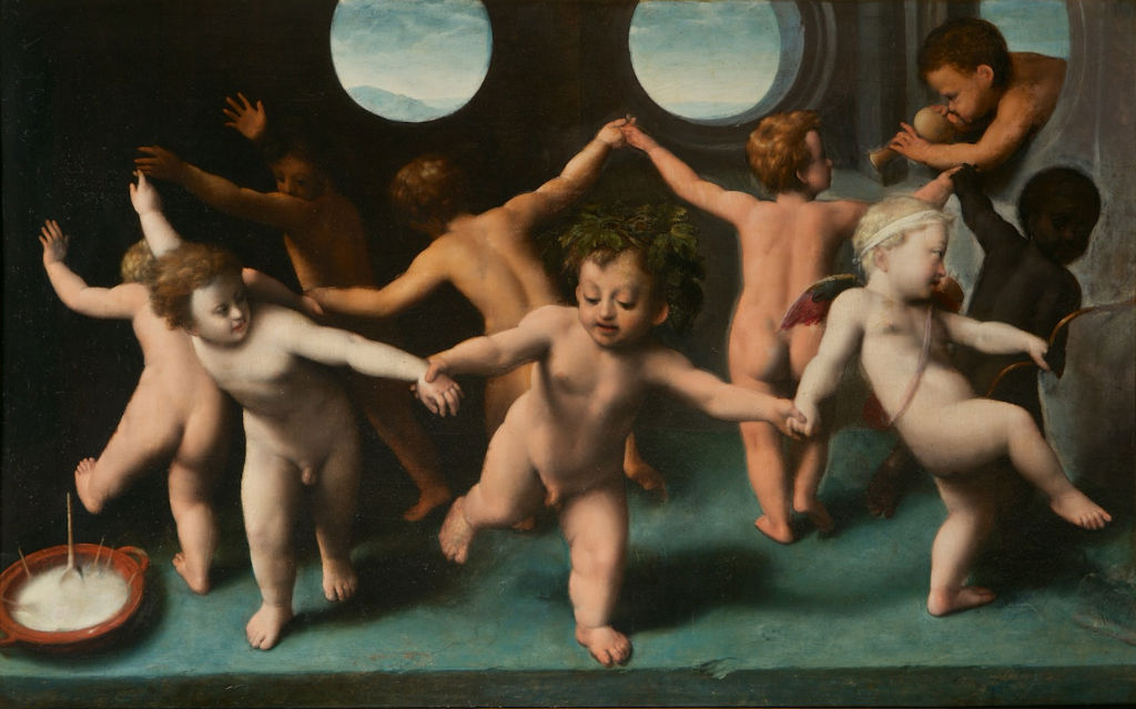 The Infant Bacchus, Cupid and Putti, Italian School,16th Century.