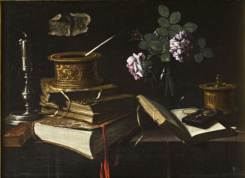 Still Life with Flowers in a Vase, Books and a Candlestick, Spanish or Neapolitan School, circa 1650.