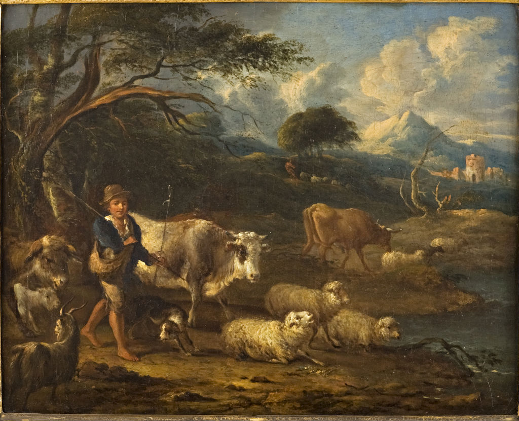 A Herdsboy with Cattle and Sheep, Michael Carré (1657-1727).