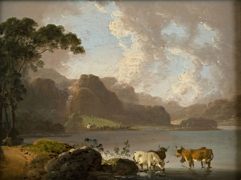 A Lakeland Scene with Cattle Watering, John Rathbone (1750-1807).