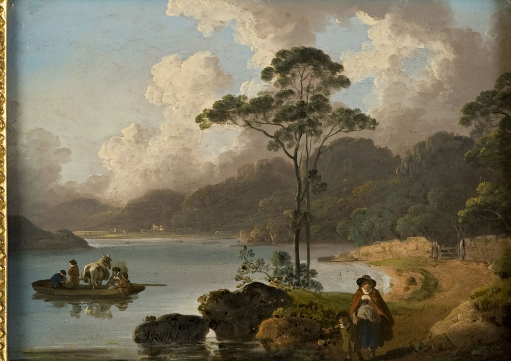 A Lakeland Scene with a Ferryboat, John Rathbone (1750-1807).