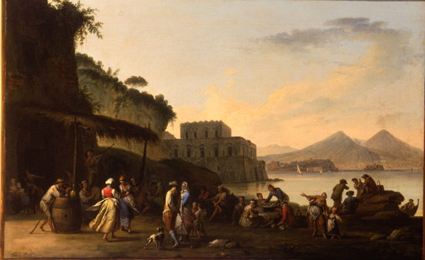 Peasants Dancing and Eating with Vesuvius in the Distance,  Pietro Fabris (active 1740-1792).