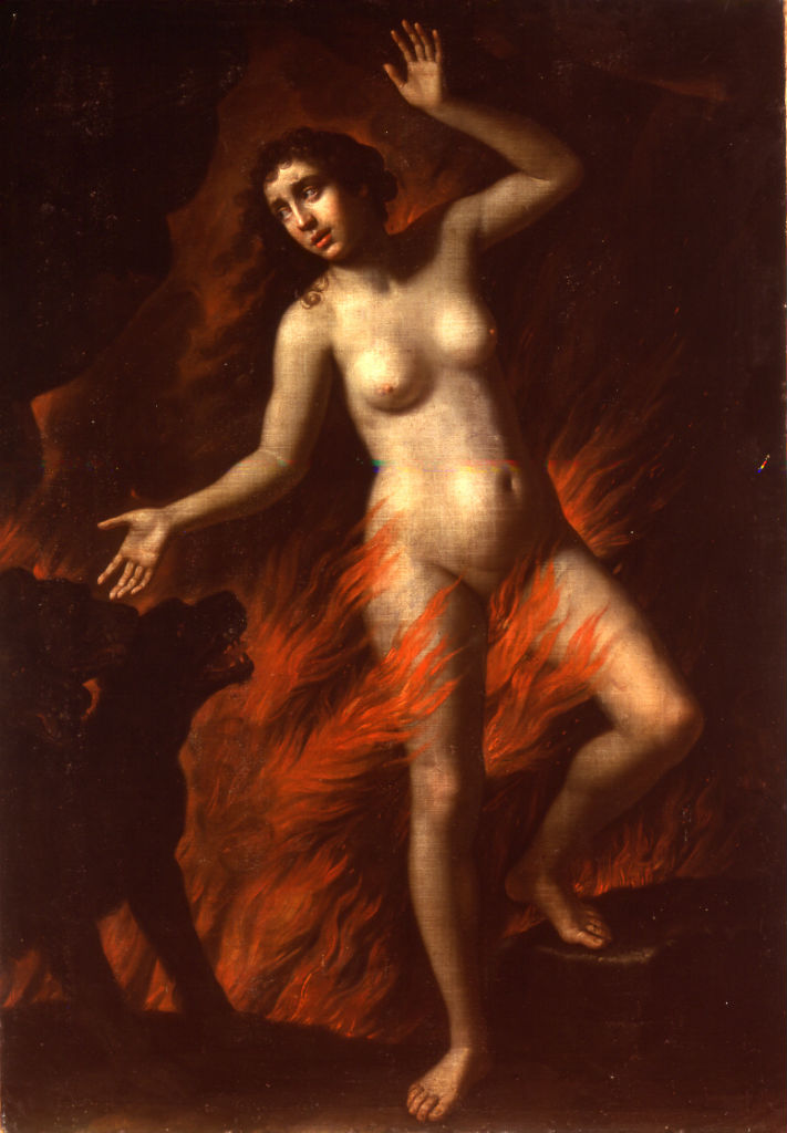Eurydice Enveloped by Flames, Benedetto Gennari (1633-1715).