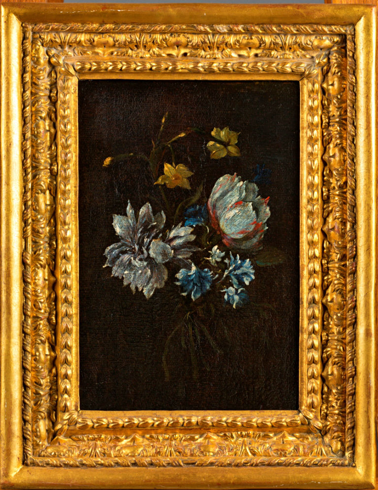 Still Life of a Tied Bunch of Flowers with Narcissi and an Anemone, French School, 18th Century.