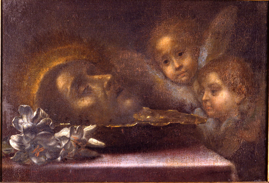 The Head of John the Baptist with Two Cherubim, Attributed to Carlo Dolci (1616-1686).