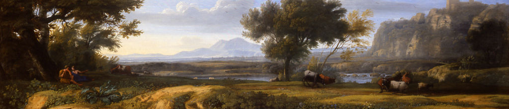 An extensive River Landscape, two Figures on the left with Cattle in the Foreground by an Associate of Claude Gellée called Claude Lorrain (1600-1682).