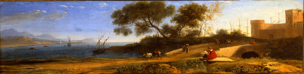 A Coastal Scene, a Castle to the Right with an Artist sketching near a Bridge in the Foreground by an Associate of Claude Gellée, called Claude Lorrain (1600-1682).
