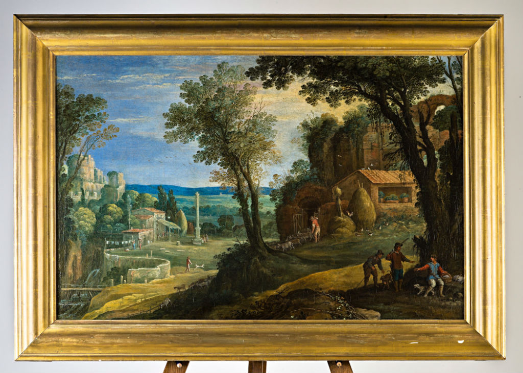 A Southern Landscape with a Column and a Ravine, Circle of Paul Bril (1554-1626).