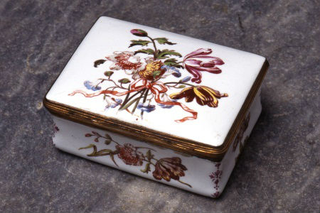 An unusual enamel snuff box, mid 18th Century.