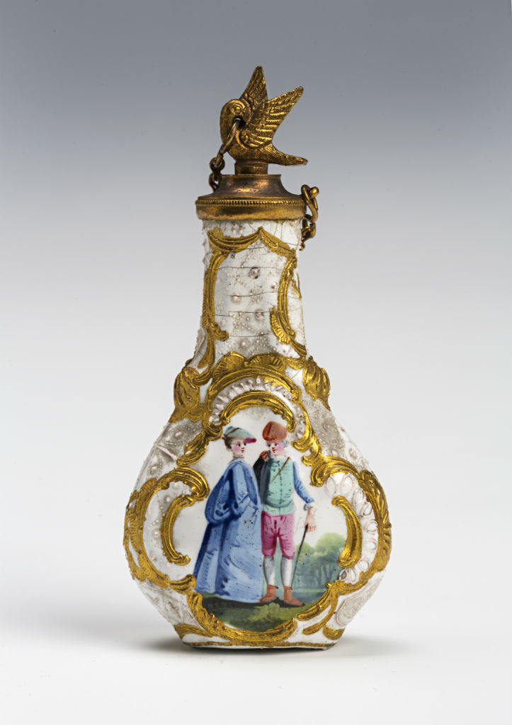 A Bilston white-ground enamel scent bottle, circa 1760.