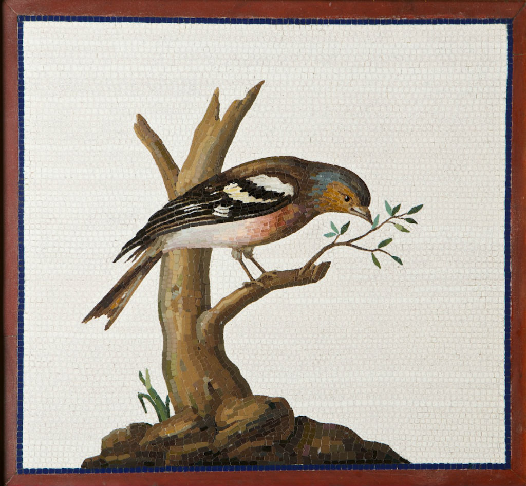 A mosaic panel of a chaffinch pecking at a leafy branch, Roman, late 18th Century.