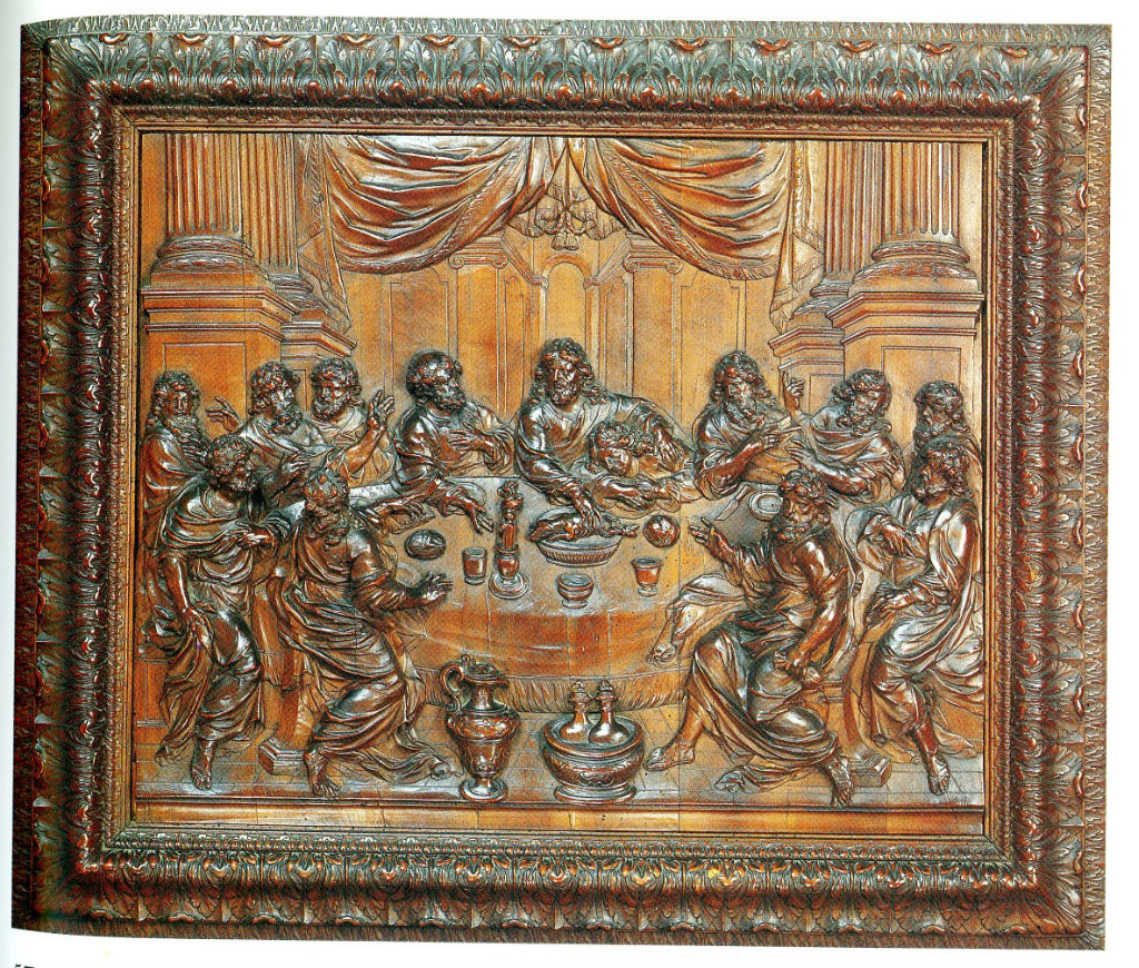 A fruitwood relief of the Last Supper, attributed to Cesar Bagard (1620-1717).