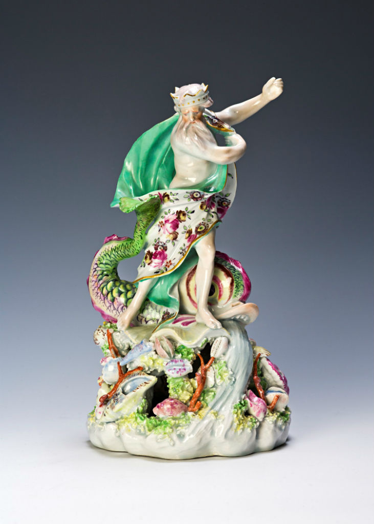 A Derby figure of Neptune, circa 1760.