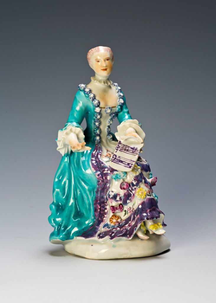A Derby figure of 'Music', circa 1760.