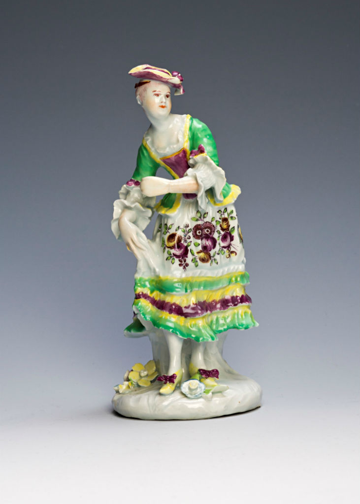A Derby figure of a dancing girl, circa 1756-60).