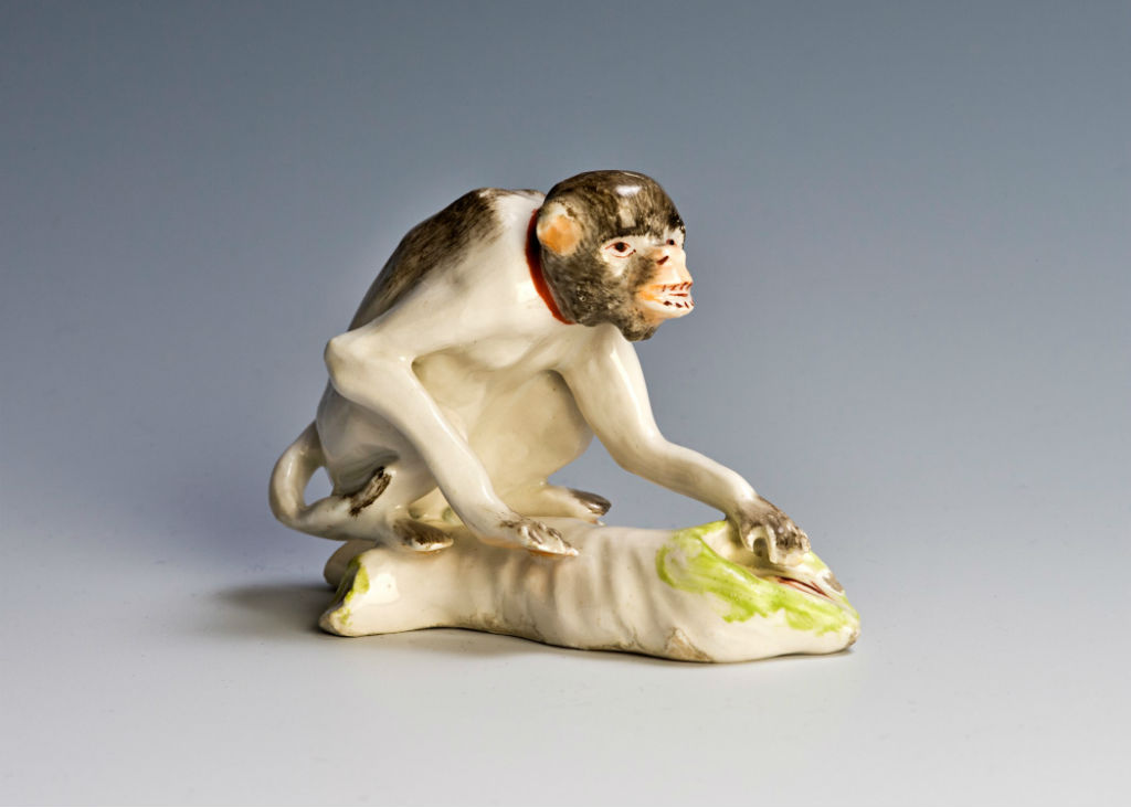 A Derby figure of a monkey, circa 1770.