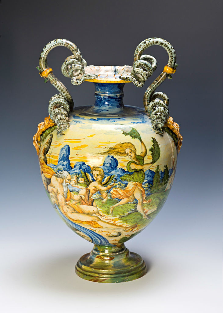 An Urbino maiolica two-handled vase, circa 1570.