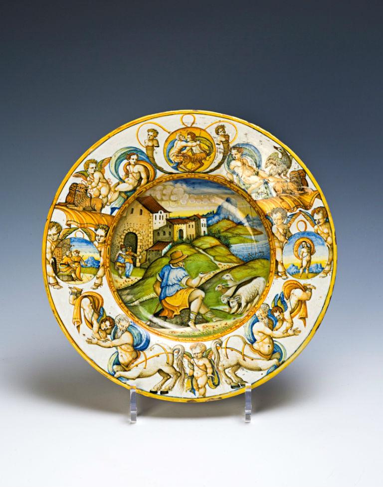 An Urbino maiolica dish, 1560-80.
