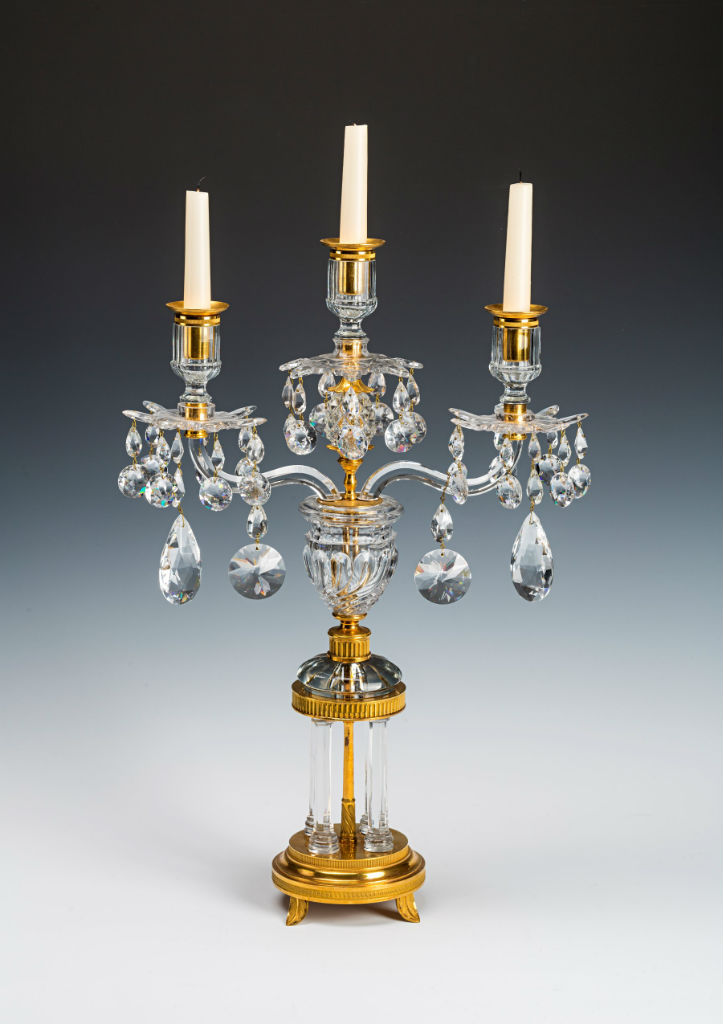 A pair of Regency ormolu and cut-glass lustres, circa 1800.