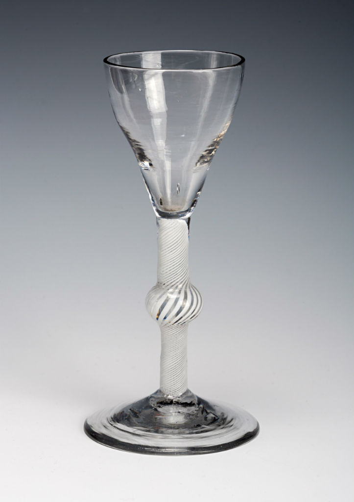 A wine glass, circa 1760.