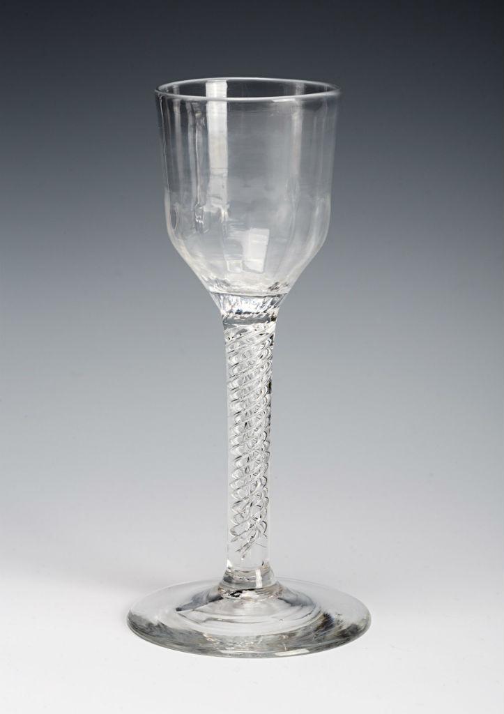 A wine glass, circa 1750.