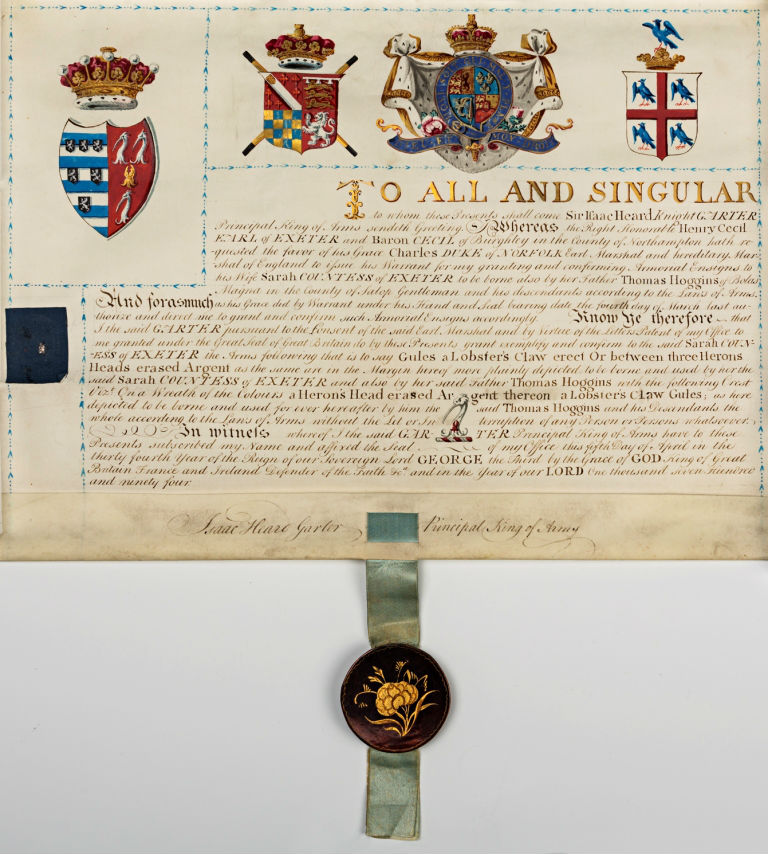 A Grant of Arms to the 10th Earl for his second wife, Sarah Hoggins, 1794.