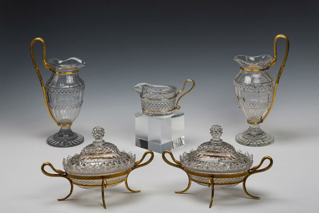 A group of important cut-glass tableware with silver-gilt mounts, 1800-1801.