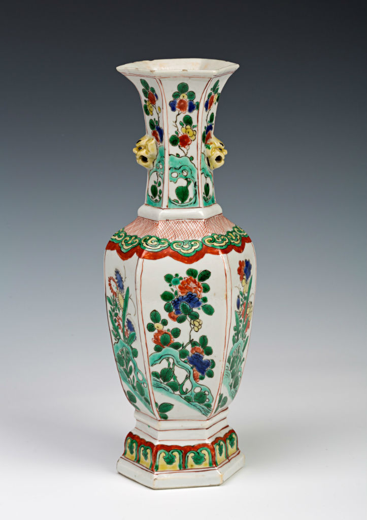 A pair of Chinese hexagonal vases, circa 1700.