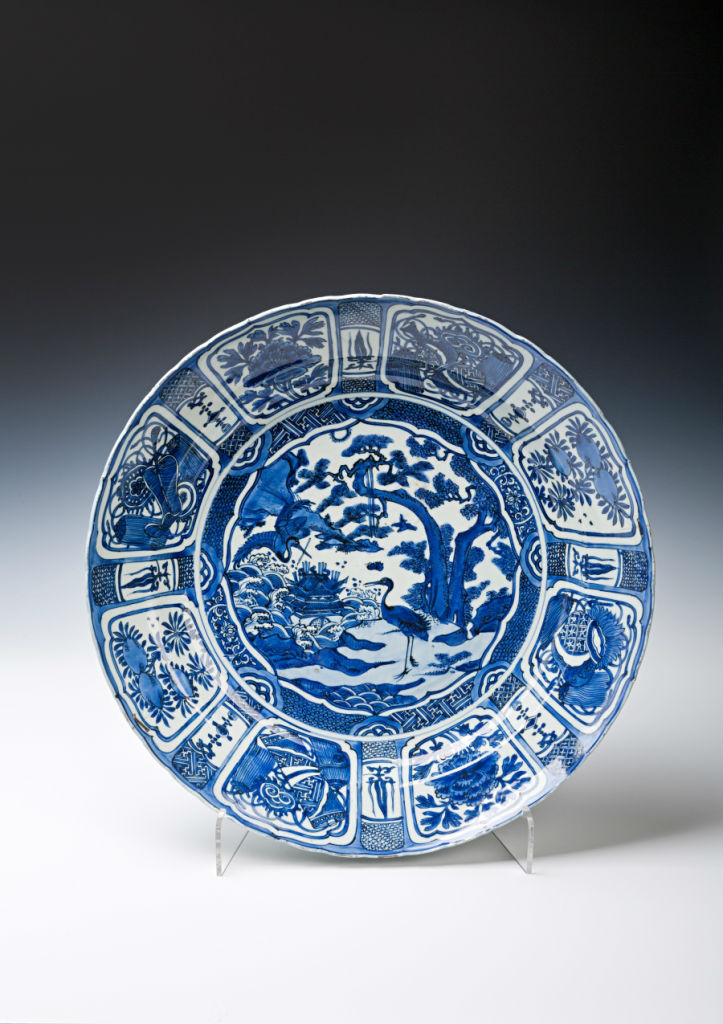 A Chinese blue and white charger, late Ming, late 16th Century.