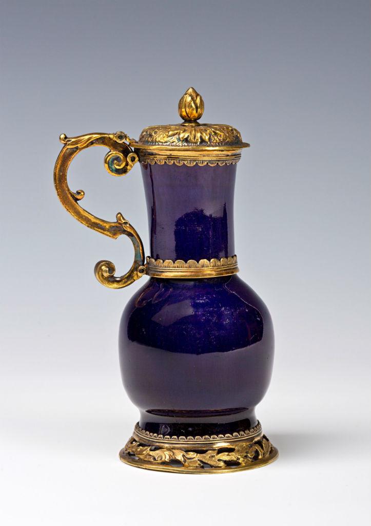A silver-gilt mounted purple-glazed jug, Chinese, Transitional (1620-1683).