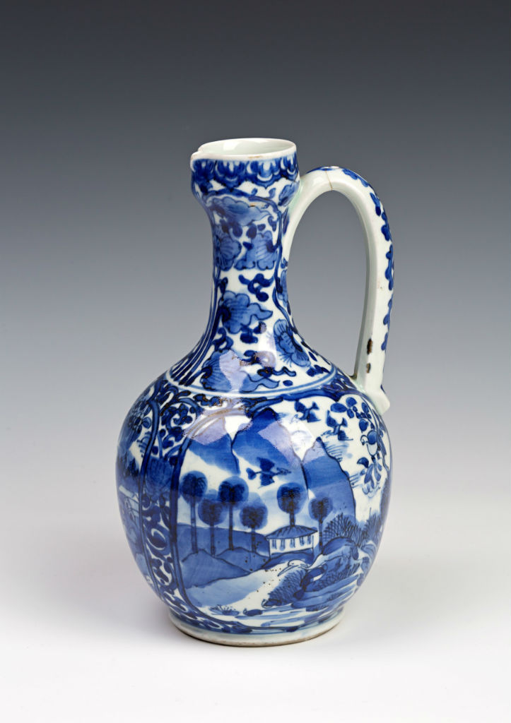 A pair of Arita blue and white ewers, late 17th Century.