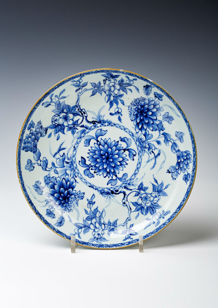 A blue and white saucer dish, Chinese, second quarter 18th Century.
