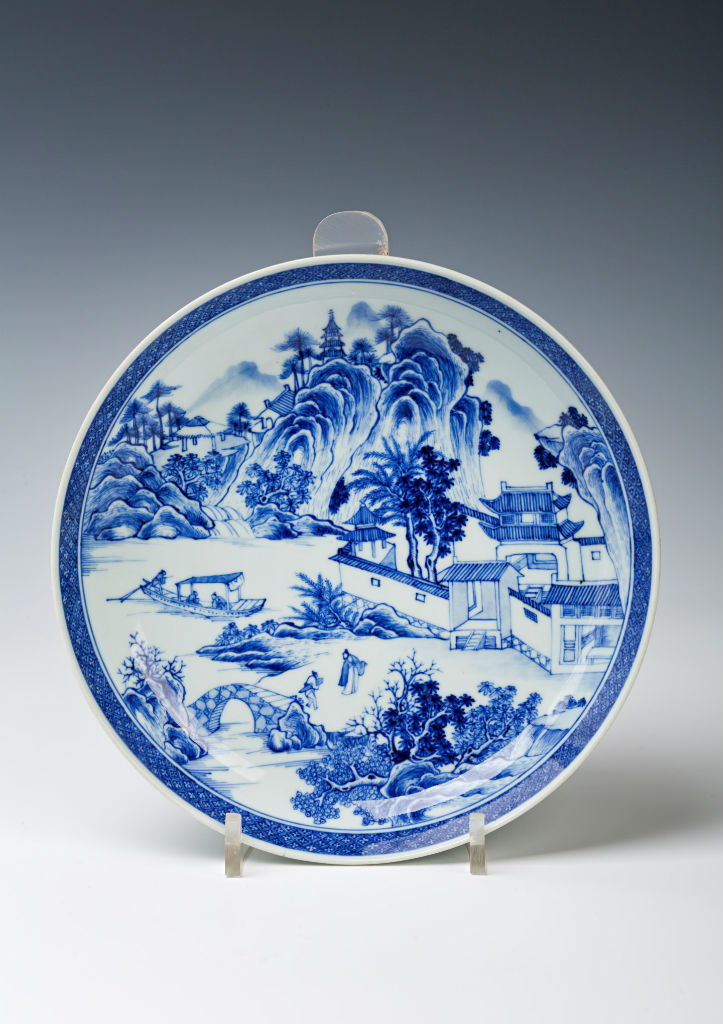A blue and white saucer dish, Chinese, Qianlong (1736-1795).