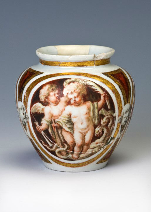 A European porcellaneous ovoid jar, probably circa 1660.