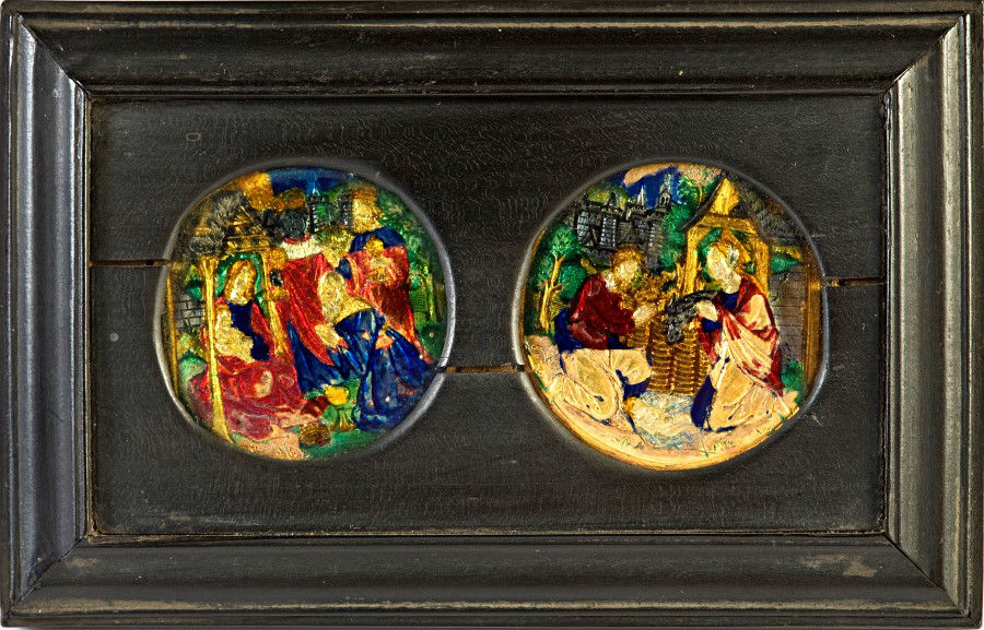A pair of polychrome translucent enamelled gold roundels.