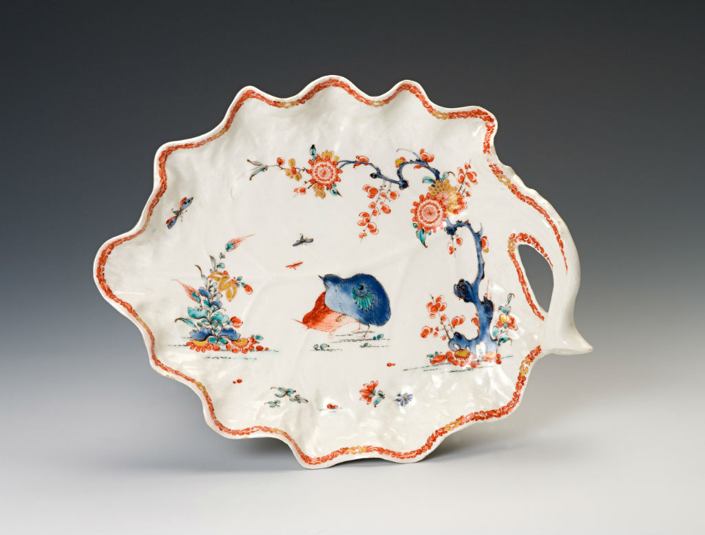 A pair of Bow 'Quail pattern' leaf-shaped dishes, circa 1755.