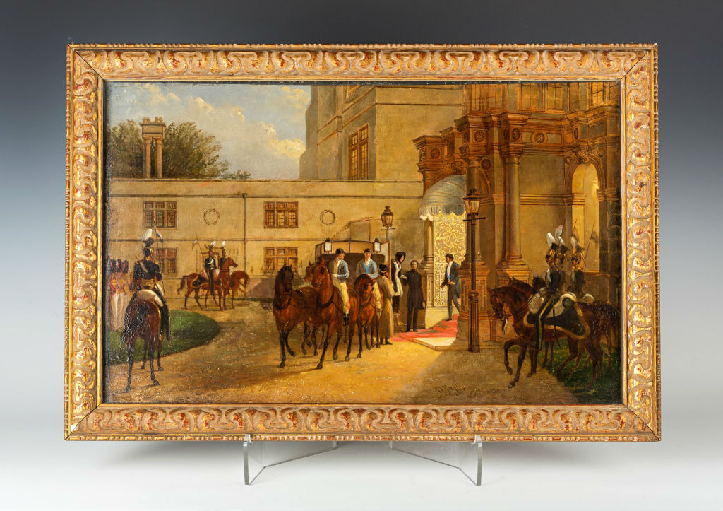 The Arrival of Queen Victoria at Burghley, signed H.B. Ziegler, Nov 1844.