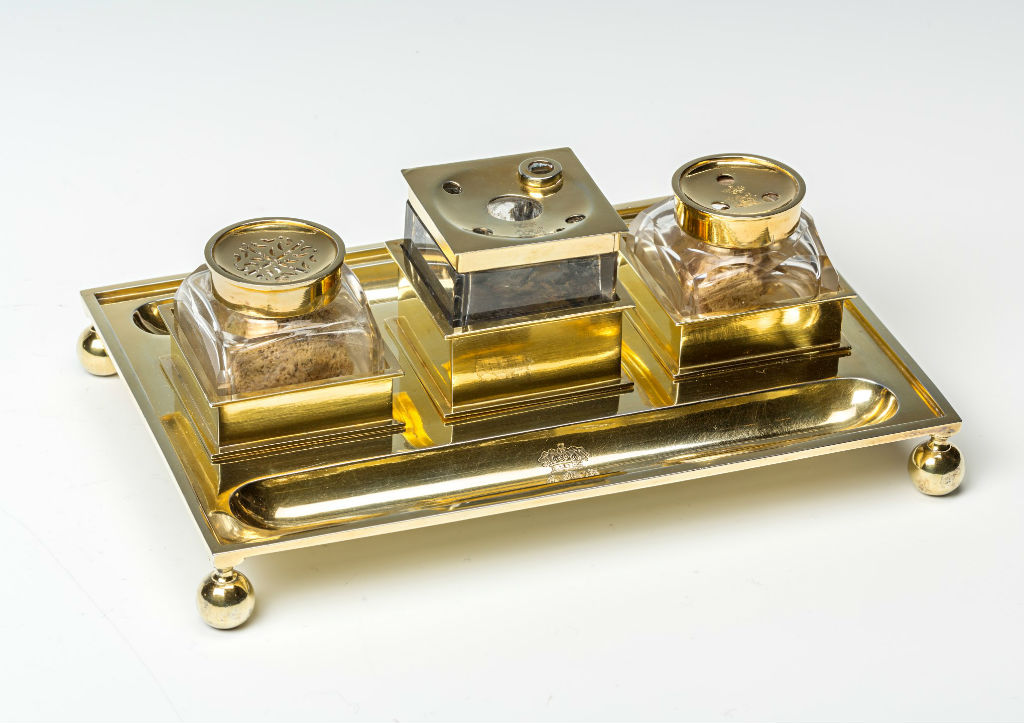 A George IV silver-gilt inkstand, by Robert Garrard, London,1824.