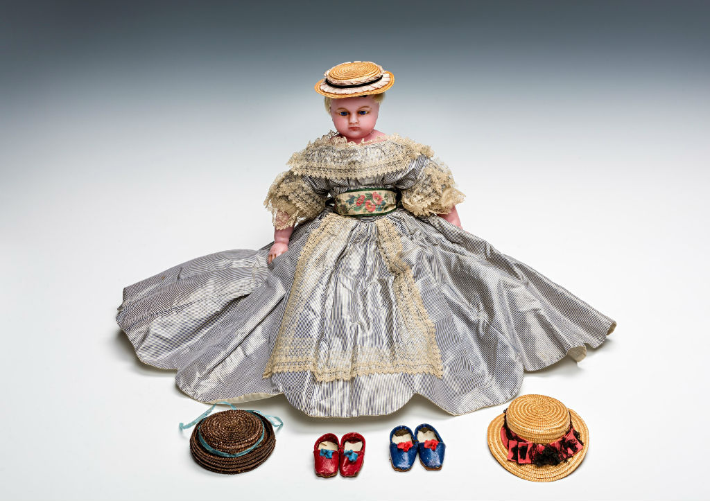A Montanari poured wax doll, English, circa 1860.
