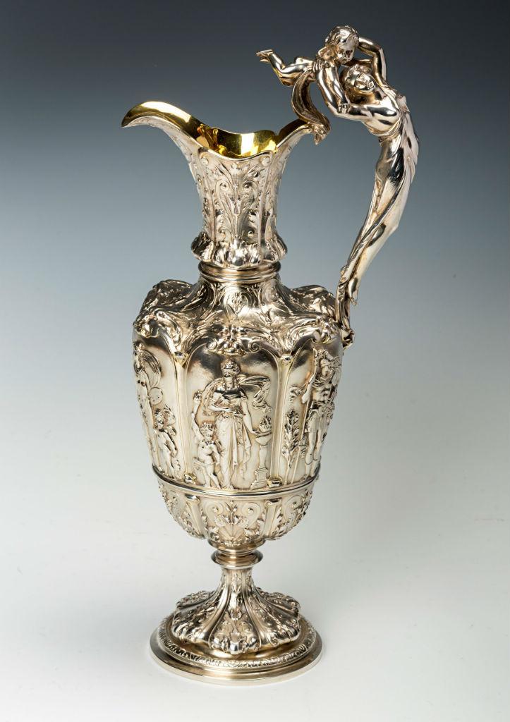 A Victorian vase-shaped ewer, by Frederick Elkington, Birmingham,1875.