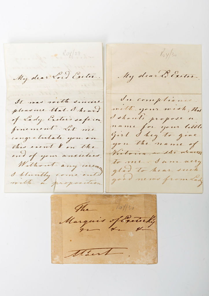 Two letters from Prince Albert to Brownlow, 2nd Marquess of Exeter KG.
